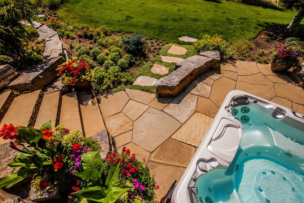 patio with stairs and Jacuzzi in Bozeman, MT