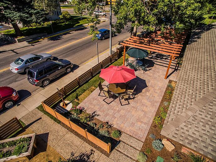 Patio hardscape with pavers
