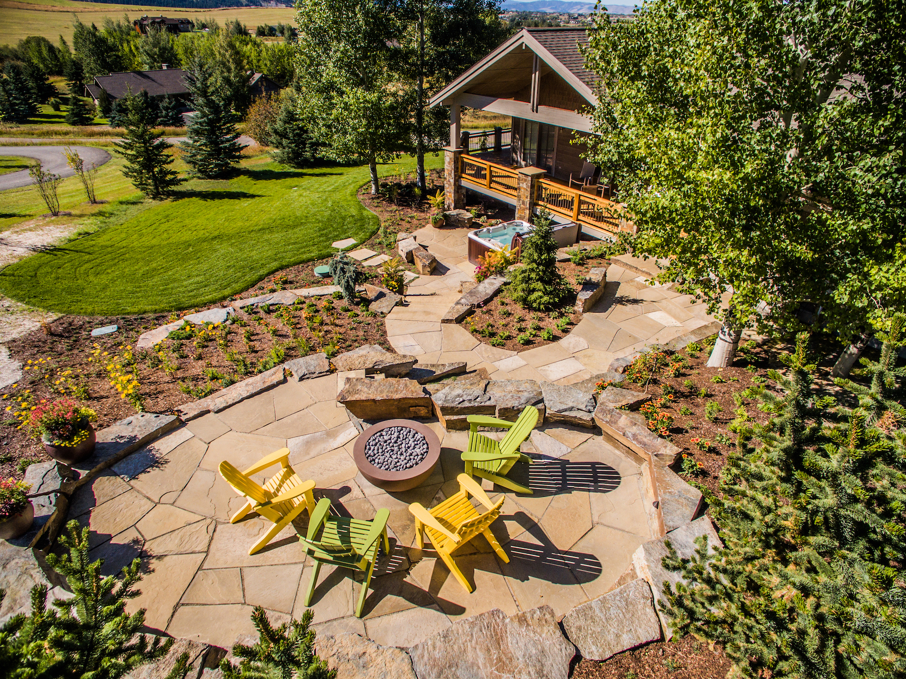 landscape with patios and walkways