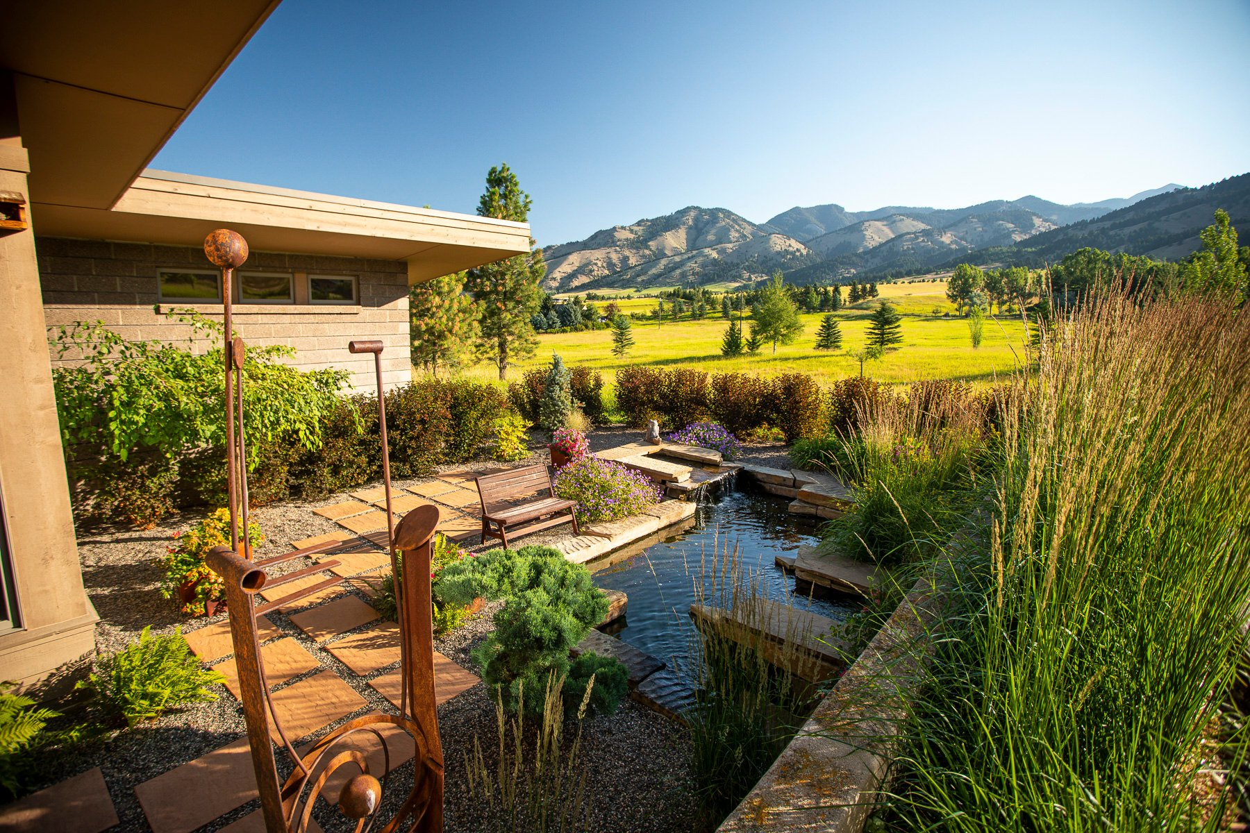 Fish pond water feature in Montana