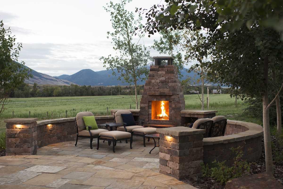 Outdoor fireplace in Bozeman, MT