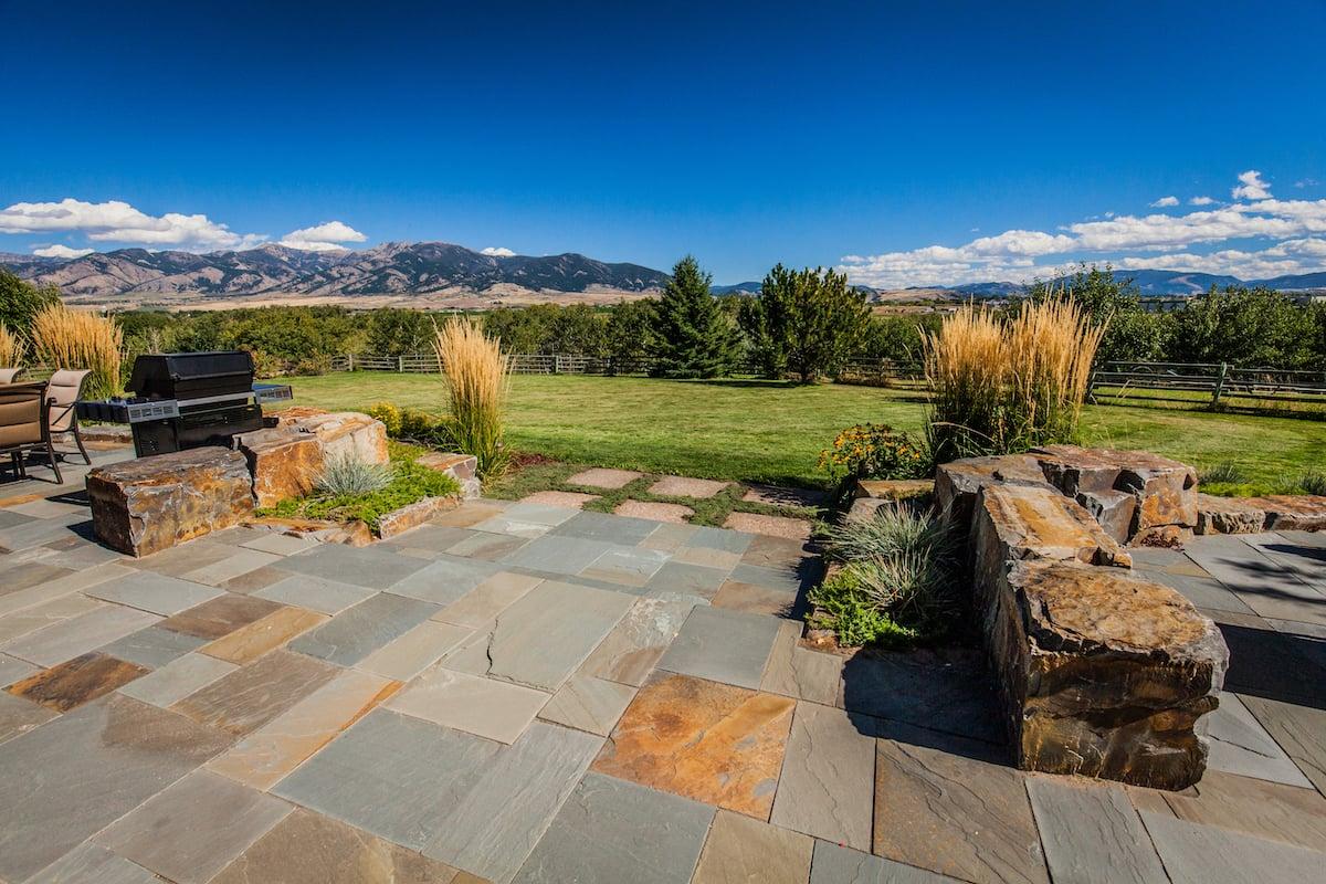 natural stone patio and landscape in Bozeman, MT