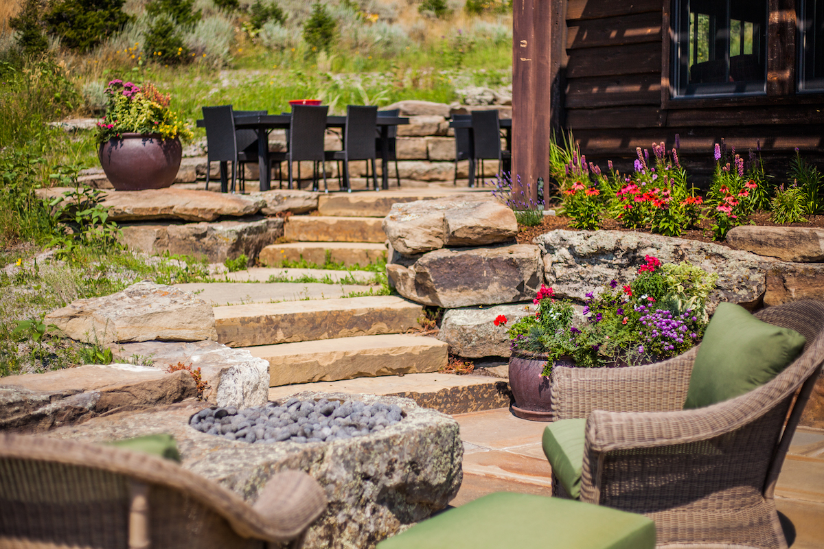 Patio designed by Blanchford Landscape in Bozeman. MT