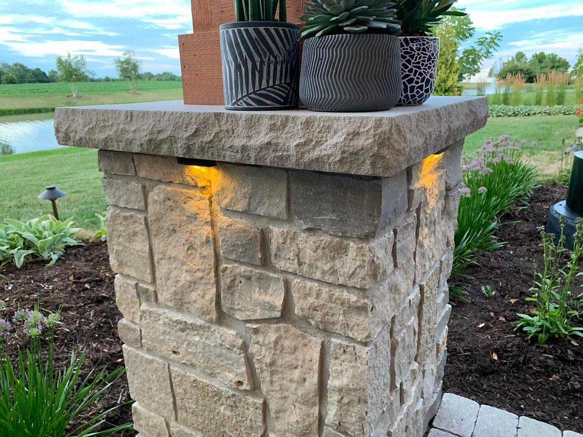 landscape lighting on patio post