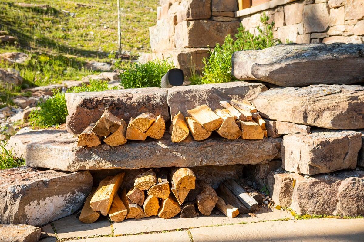 patio boulders firewood 2