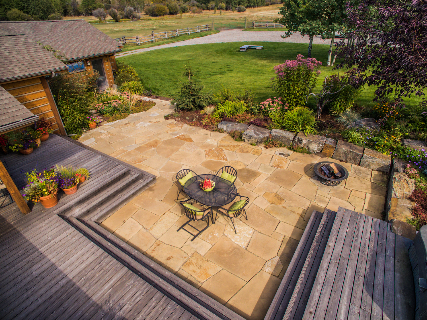 large patio at Montana home